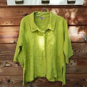 Flax linen pinstripe top small lime green
